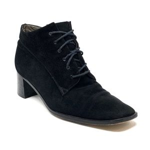 Armando Pollini Black Suede Block Heel Ankle Boots